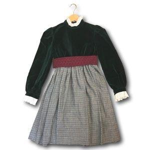 VNTG Joan Calabrese Little Girl Velvet Plaid Dress